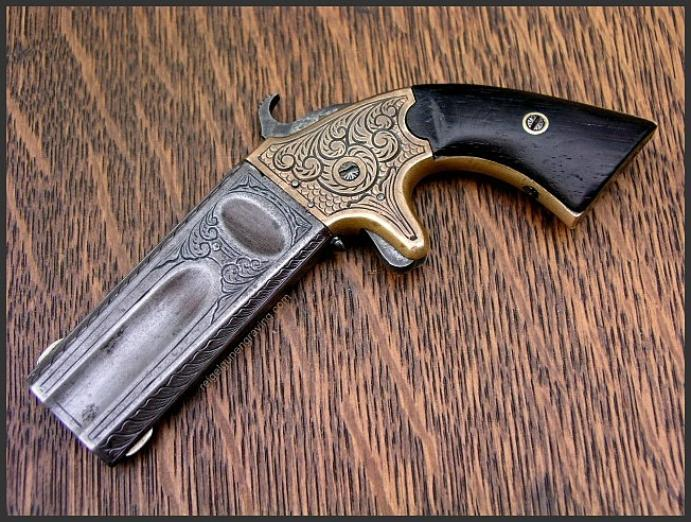 Engraved American Arms Co. Double Barrel Derringer, Reigel Gun Engraving