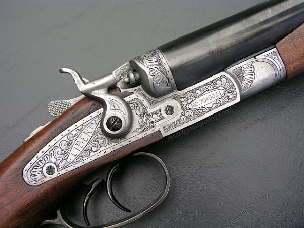 Coyote Cap 1887 Coach Gun  hand engraved by Dennis Reigel