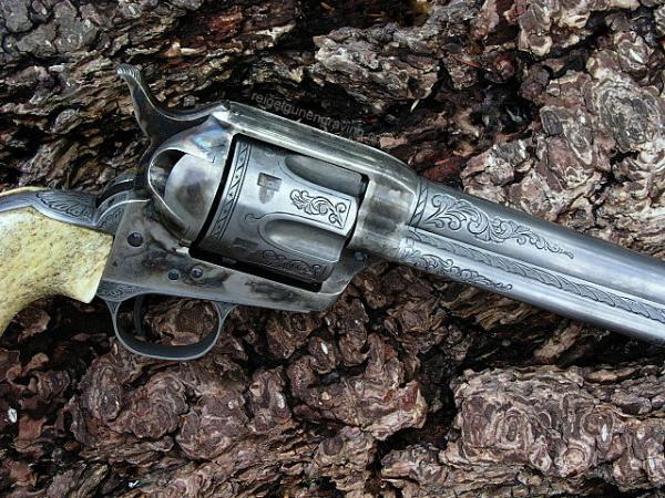 Engraved Cimarron Evil Roy SAA 357 Magnum, by reigelgunengraving.com