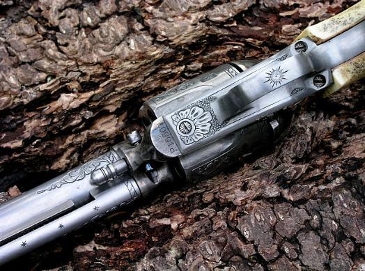 Engraved Evil Roy SAA 357 Magnum, reigelgunengraving.com